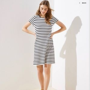 LOFT Striped Twist Back Keyhole Dress